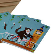 Re-wrapped - 1 eco friendly recycled greeting birthday card with coffee envelope - Blue London with Cats and Big Ben by UK designer Vicky Scott