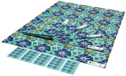 Re-wrapped - 1 sheet with 2 matching swing tags of eco friendly recycled birthday gift wrap wrapping paper - Blue Tropical Flowers by UK designer Kate Heiss