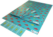 Re-wrapped - 1 sheet with 2 matching swing tags of eco friendly recycled birthday gift wrap wrapping paper - Children Red and Yellow Submarines by UK designer Tracy Umney