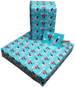 Re-wrapped - 1 sheet with 2 matching swing tags of eco friendly recycled birthday gift wrap wrapping paper - Blue and Pink Flamingos by UK designer Vicky Scott