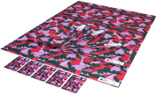 Re-wrapped - 1 sheet with 2 matching swing tags of eco friendly recycled birthday gift wrap wrapping paper - Red Strawberries by UK designer Emily Chapman