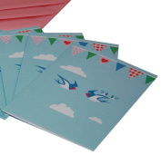 Re-wrapped - 1 eco friendly recycled greeting birthday card with pink envelope - Blue Bunting by UK designer Vicky Scott
