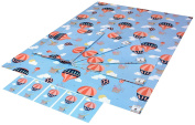Re-wrapped - 1 sheet with 2 matching swing tags of eco friendly recycled birthday gift wrap wrapping paper - Blue Hot Air Balloons by UK designer Louise Thomas