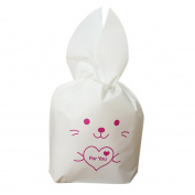 Binmer(TM) 50 Pcs Party Cute Rabbit Ears Plastic Bag Wedding Cookies Biscuit Cake Candy Bags Packing for Party