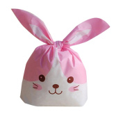 Binmer(TM) 50 Pcs Party Cute Rabbit Ears Plastic Bag Wedding Biscuit Cookies Cake Candy Bags Packing for Party