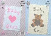 King Cole Crochet Pattern Baby Boy or Girl Teddy & Heart Pattern Blankets Comfort DK