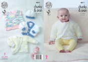 King Cole Baby Chunky with Aran Knitting Pattern Cardigans Pinafore Dress & Hat