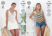 King Cole Ladies Double Knitting Pattern Womens Easy Knit V Shaped Sweater & Vest