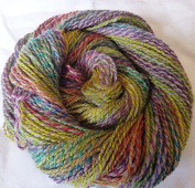 Taos Spring Light Grey twisted with multicolor tones sport weight knitting crochet yarn