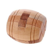 Chinese Classic Intelligence Toy Brain Teaser Game 3D Wooden Barrel Puzzle