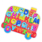 Cartoon Bus Wooden Jigsaw Alphabet Puzzle Early Learning Toys for Kids Baby