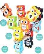 BBLIKE Wood Building Blocks Bricks Set of Cute Owl with Numbers, Sustainable Source Bright Colours Preschool Education Tool