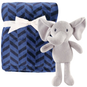 Hudson Baby Baby-Boy Plush Blanket with Plush Toy Set, Boy Elephant