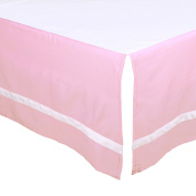 Pink Tailored Crib Dust Ruffle with White Stripe by The Peanut Shell