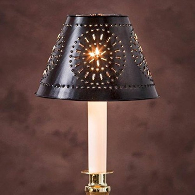 Lamp Shade Clip On Punched Metal Black Metal Shade 14cm x 9.5cm