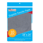 U.S. Art Supply Graphite Carbon Transfer Paper 46cm x 60cm - 10 Sheets - Black Tracing Paper for all Art Surfaces