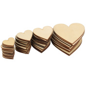 Outus 160 Pieces Blank Wood Heart Embellishments Wood Heart Slices for Wedding, DIY, Arts, Crafts, Card Making