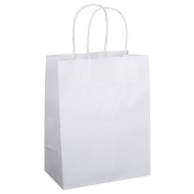 Shopping Bags 8x 4.190cm x 27cm 50Pcs BagDream Gift Bags,Cub, Paper Bags, Kraft Bags, Retail Bags, White Paper Bags with Handles