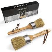 Arteza Round Chalk Paint and Wax Brush, Made for Furniture, Natural Bristles, Professional-Grade Quality 2 Pack