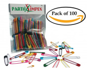 PARTH IMPEX 100 Coloured Safety Pins Extra Large Sturdy Painted 2 Inches / 50 mm, Sewing Art Craft Work DIY Project Pin Needles