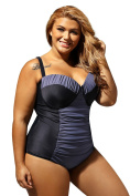 LittleLittleSky Womens Sexy Black Grey Colour Block Ruched Plus Size Swimwear One Piece Swimsuits (