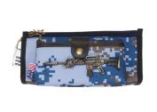 Drasawee Creative Oxford Fibre Camo Figure Students Boys Stationery Pen Bag Pencil Case Organiser Blue