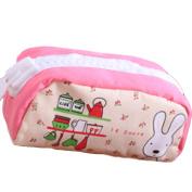 Drasawee Cute Canvas Rabbit Figure Students Girls Stationery Pen Bag Pencil Case Organiser Pink1#