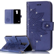 LG Stylo 2 Case,LG Stylus 2 Case,LG Stylo 2/LG Stylus 2 Case,ikasus Embossing Floral Flower Skull Campanula Pattern Shiny Glitter Crystal Rhinestone Diamond PU Leather Fold Wallet Pouch Case Wallet Flip Cover Bookstyle Magnetic Closure with Card Slots ..