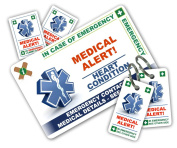 HEART CONDITION In Case of Emergency (I.C.E.) Card Pack with Key Rings & Stickers from ICEcard. Wallet size card with WRITABLE reverse to carry Emergency Contact & Medical / Medication Information