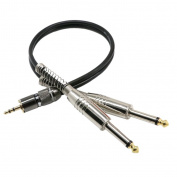 "Jili Online Premium 3.5mm TRS to Dual 1/4 Inch TS Audio Cable (0.3m) - Male 3.5mm 1/8"" Stereo AUX Auxiliary to 6.35mm 1/4"" Y Adapter Connector Wire Cord Plug Jack"
