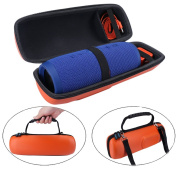 MASiKEN PU Protective Travel Carrying Case Speaker Case Storage Bag Pouch for JBL Charge 3 Wireless Bluetooth Speaker - Orange