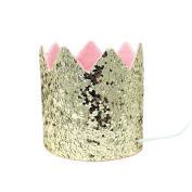 Champagne Gold Glitter Cake Smash Party Crown Hat, Mini Size, Pink Felt Lining - One Size Fits All Adjustable Elastic Head Strap