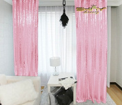 ShinyBeauty 5FtX2.1m-Pink-Sequin Backdrop,Sparkly Photography Backdrop,Shimmer Sequin Fabric Curtain For Wedding/Party/Event/Celebration