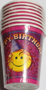 Happy Birthday Paper Cups (8 Cups) - Smiley Face - 270ml cups