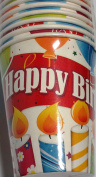 Happy Birthday Paper Cups (8 Cups) -Candle Balloon - 270ml cups