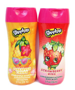 Children Shopkins Strawberry Kiss- Strawberry Scented Body Wash & Shopkins Pineapple Crush- Pineapple Scented Conditioning Shampoo. Bundle of 2.