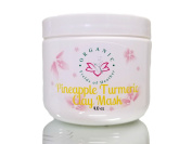 Organic Pineapple & Turmeric Clay Facial Mask, Aloe, Vitamin E, Carrot Seed Oil, Primrose & Green Tea