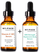 NY FACE's 50x strength Hyaluronic Acid & Vitamin C Serum with Vitamin C, Vitamin E SET