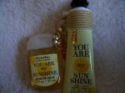 Bath and Body Work 3 Piece Gift Set YOU ARE MY SUNSHINE 30ml Hand Cream Lovely Lemon, 30ml Hand Gel Lovely Lemon w/Hand Cream Holder Gold Striped Sparkly Pineapple