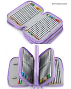 Pebble Art Coloured Pencil Bags 72 Slots Pencil Organiser Portable Watercolour Pencils Case (Plum), 1PC