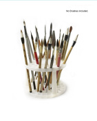 Pebble Art 49 Holes Brush Organiser, White Plastic