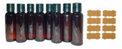 SanDaveVA Brand 2oz Plastic Bottles AMBER PET Qty 8 w/ Smooth Black Disc Top Caps & Free Kraft Labels 60ml or 2 Oz