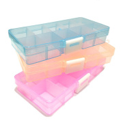 Beads Rhinestone Jewellery transparent clear blue / pink / orange Storage Plastic Box Case organiser container 10 Grids / Slots with Removable Dividers