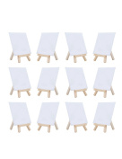 MEEDEN 10cm by 10cm Mini Canvas Panels Combined with 7.6cm by 13cm Tiny Wood Easels Set for Paintings Craft Small Acrylics Oil Projects, Pack of 12