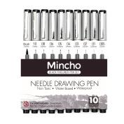 Set of 10 Black Micro-Pen Fineliner Ink Pens,Anti-Bleed & Waterproof Archival ink,Brush & Calligraphy Tip Nibs-Artist Illustration