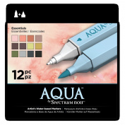 Spectrum Noir Aqua Water Based Marker Art Craft Marker Pens - Essentials 12 Pack