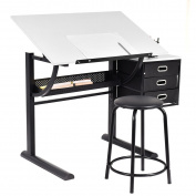 Drafting Table Art & Craft Drawing Desk Art Hobby Folding Adjustable w/ Stool