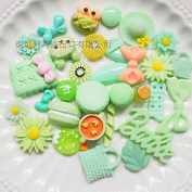 30PCS Green Play Pretend Food Dessert Sweet Candy Macaron Cake ice Cream Fruit Flower for Kids Babie Doll American Girl Doll Toy