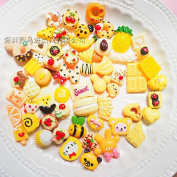 50PCS Yellow Play Pretend Food Dessert Sweet Macaron Candy Cookies Bread Cake ice Cream Donuts Fruit for Kids Babie Doll American Girl Doll Toy