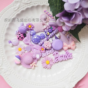 30PCS Purple Play Pretend Food Dessert Sweet Candy Macaron Cake ice Cream Flower Toy for Kids Babie Doll American Girl Doll Toy